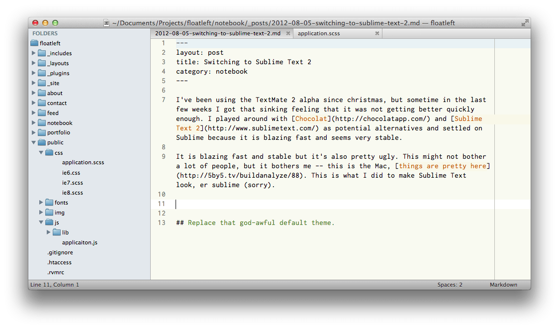 Screengrab of my Sublime Text 2 setup